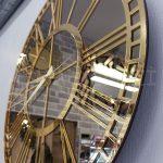 Golden Bronze Model Altın Bronz Renk Dekoratif Aynalı Duvar Saati-14