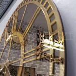 Golden Bronze Model Altın Bronz Renk Dekoratif Aynalı Duvar Saati-15