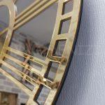 Golden Bronze Model Altın Bronz Renk Dekoratif Aynalı Duvar Saati-19