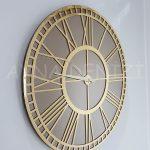 Golden Bronze Model Altın Bronz Renk Dekoratif Aynalı Duvar Saati-2