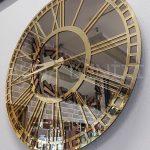 Golden Bronze Model Altın Bronz Renk Dekoratif Aynalı Duvar Saati-5