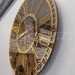 Golden Bronze Model Altın Bronz Renk Dekoratif Aynalı Duvar Saati-6