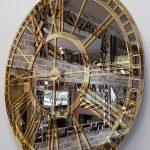 Golden Bronze Model Altın Bronz Renk Dekoratif Aynalı Duvar Saati-7