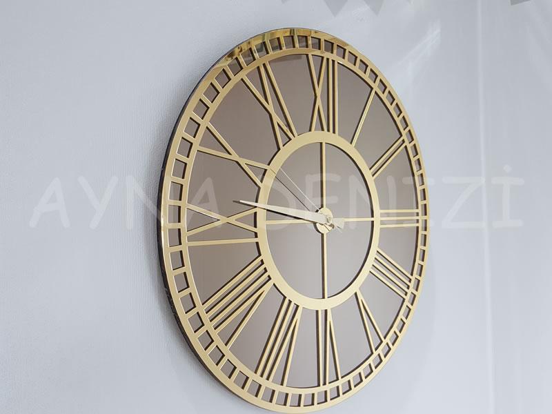 Golden Bronze Model Altın Bronz Renk Dekoratif Aynalı Duvar Saati