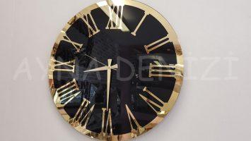 Golden Jet Black Model Altın Siyah Renk Dekoratif Aynalı Duvar Saati