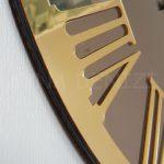 Golden Jet Bronze Model Altın Bronz Renk Dekoratif Aynalı Duvar Saati-11