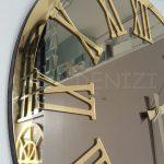 Golden Jet Bronze Model Altın Bronz Renk Dekoratif Aynalı Duvar Saati-13