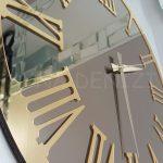 Golden Jet Bronze Model Altın Bronz Renk Dekoratif Aynalı Duvar Saati-14