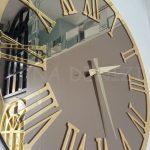 Golden Jet Bronze Model Altın Bronz Renk Dekoratif Aynalı Duvar Saati-16