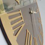 Golden Jet Bronze Model Altın Bronz Renk Dekoratif Aynalı Duvar Saati-17