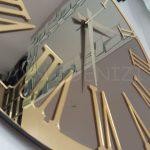 Golden Jet Bronze Model Altın Bronz Renk Dekoratif Aynalı Duvar Saati-18