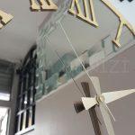 Golden Jet Bronze Model Altın Bronz Renk Dekoratif Aynalı Duvar Saati-20