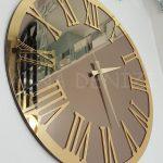 Golden Jet Bronze Model Altın Bronz Renk Dekoratif Aynalı Duvar Saati-3