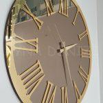 Golden Jet Bronze Model Altın Bronz Renk Dekoratif Aynalı Duvar Saati-9