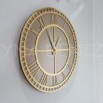 Golden Roma Bronze Model Altın Bronz Renk Dekoratif Aynalı Duvar Saati-1