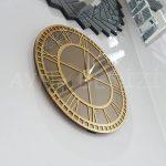 Golden Roma Bronze Model Altın Bronz Renk Dekoratif Aynalı Duvar Saati-12