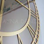 Golden Roma Bronze Model Altın Bronz Renk Dekoratif Aynalı Duvar Saati-16