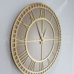 Golden Roma Bronze Model Altın Bronz Renk Dekoratif Aynalı Duvar Saati-2