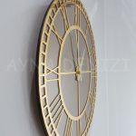 Golden Roma Bronze Model Altın Bronz Renk Dekoratif Aynalı Duvar Saati-4