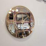 Golden Roma Bronze Model Altın Bronz Renk Dekoratif Aynalı Duvar Saati-6