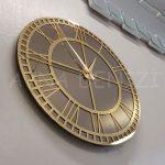 Golden Roma Bronze Model Altın Bronz Renk Dekoratif Aynalı Duvar Saati-8