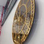 Golden Roma Bronze Model Altın Bronz Renk Dekoratif Aynalı Duvar Saati-9