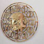Golden Space Model Altın Renk Dekoratif Aynalı Duvar Saati-1