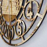 Golden Space Model Altın Renk Dekoratif Aynalı Duvar Saati-10