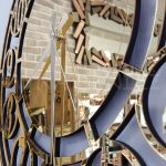Golden Space Model Altın Renk Dekoratif Aynalı Duvar Saati-15