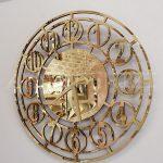 Golden Space Model Altın Renk Dekoratif Aynalı Duvar Saati-2