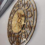 Golden Space Model Altın Renk Dekoratif Aynalı Duvar Saati-5