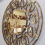 Golden Space Model Altın Renk Dekoratif Aynalı Duvar Saati-9