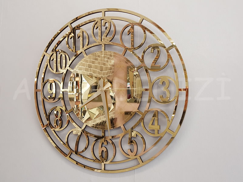 Golden Space Model Altın Renk Dekoratif Aynalı Duvar Saati