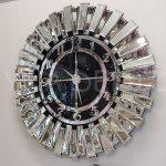 Güneş Argent Black Model Gümüş Siyah Renk Dekoratif Aynalı Duvar Saati-1