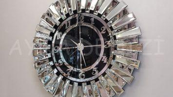Güneş Argent Black Model Gümüş Siyah Renk Aynalı Duvar Saati