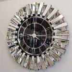 Güneş Silver Black Model Gümüş Renk Dekoratif Aynalı Duvar Saati-1