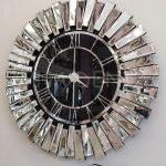 Güneş Silver Black Model Gümüş Renk Dekoratif Aynalı Duvar Saati-2
