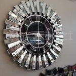 Güneş Silver Black Model Gümüş Renk Dekoratif Aynalı Duvar Saati-3