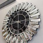 Güneş Silver Black Model Gümüş Renk Dekoratif Aynalı Duvar Saati-5