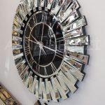 Güneş Silver Black Model Gümüş Renk Dekoratif Aynalı Duvar Saati-9