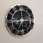 Silver Black Model Gümüş Siyah Renk Dekoratif Aynalı Duvar Saati-1