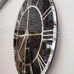 Silver Black Model Gümüş Siyah Renk Dekoratif Aynalı Duvar Saati-10
