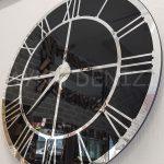 Silver Black Model Gümüş Siyah Renk Dekoratif Aynalı Duvar Saati-11