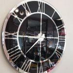 Silver Black Model Gümüş Siyah Renk Dekoratif Aynalı Duvar Saati-13