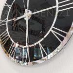 Silver Black Model Gümüş Siyah Renk Dekoratif Aynalı Duvar Saati-15