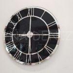 Silver Black Model Gümüş Siyah Renk Dekoratif Aynalı Duvar Saati-2