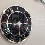 Silver Black Model Gümüş Siyah Renk Dekoratif Aynalı Duvar Saati-3
