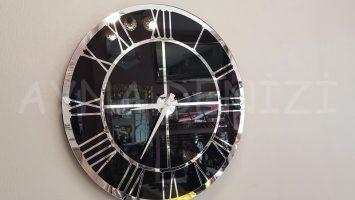 Silver Black Model Gümüş Siyah Renk Dekoratif Aynalı Duvar Saati