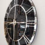 Silver Black Model Gümüş Siyah Renk Dekoratif Aynalı Duvar Saati-5