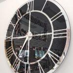 Silver Black Model Gümüş Siyah Renk Dekoratif Aynalı Duvar Saati-7